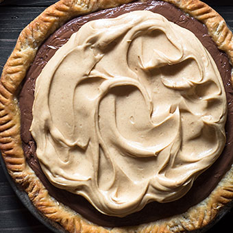 CHOCOLATE CREAM PIE WITH PEANUT BUTTER WHIPPED CREAM